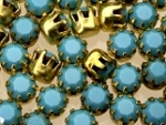 Rhinestones in settings<br>17ss Turquoise<br>2 gross for