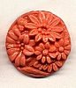 Vintage Etched Floral Glass Cabs<br>20mm Coral<br>1/2 gross for
