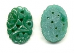 Etched Floral Glass 25 x 18mm Jade Green<br>1/2 gros for
