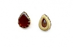 Glass pearshape in setting<br>18 x 13mm Dark Amber<br>1/2 gross for