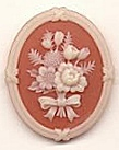 Plastic Cameos<br>Floral Motif <br>41 x 31mm<br>45 pieces for