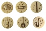 Glass Stones<br>Musical Instrument Picture Stones<br>2 dozen