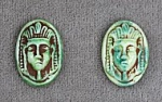 Glass Cameo<br>16 x 11mm Green Pharoah<br>1 gross for