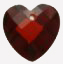 Heart shape pendant<br>Garnet-Red 10mm cubic zirconia<br>15 pieces for