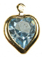Swarovski heart channel pendant<br>Gold plate<br>8 x 8.8mm Aquamarine<br>1/2 gross for