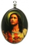 Religious Limoge<br>40 x 30mm<br>Sacred Heart Jesus<br>1 dozen for