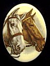 Plastic Limoges<br>40 x 30mm<br>2 Horses<br>18 Pieces for