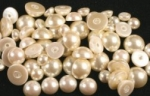 Plastic Pearl Cabochons<br>Flat-Back Round<br>Small Sizes