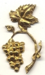 Brass Stampings<br>Branch with Grapes - Large<br>2 dozen for