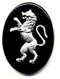 Glass Picture Stone<br>25 x 18mm<br>Lion - Silver/Black<br>1 dozen for