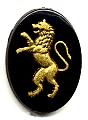 Glass Picture Stone<br>25 x 18mm<br>Lion - Gold/Black<br>1 dozen for