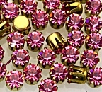 Rhinestones in settings<br>19ss Rose<br>2 gross for