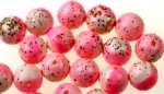 8mm Vintage Plastic Beads<br>Pink and White with gold glitter<br>3-1/3 Gross For