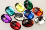 Plastic Flat Back Ovals<br>18 x 13mm Color Mix<br>1 Pound for