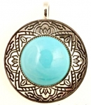 Glass Turquoise Pendant<br>1 For