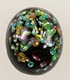 Flat Back Glass Cabochon<br>12 x 10mm<br>Black Opal<br>1 Gross For