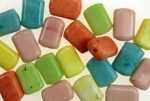 17 X 11mm Glass Beads<br>Pastel Colors<br>1 Pound For