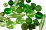 Assorted Glass Beads<br>Green Assortment<br>1 Pound For