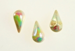 Glass Pear Shape<br>white AB <br>10mm x 6mm <br>2 Gross For