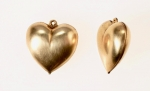 Brass Puff Heart Charm<br>21x 21mm<br>40 Pieces For