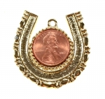Penny Horse Shoe Pendant<br>Available In Gold or silver tone<br>1 Dozen For