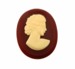 Plastic Cameos<br>55mm x42mm<br>Ivory on Carnelian<br>1 Dozen For