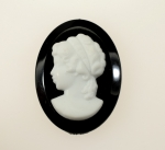 Plastic Cameo<br>40 x 30mm<br> 3 Colors Available<br>1 Dozen For