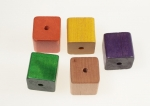 Square Wood Beads<br>1 InchSquare<br>5 ColorsAvailable<br>50 Pieces For