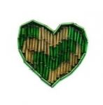 Beaded heart applique. <br> 1 dozen for