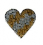 Beaded heart applique. <br> 6 pieces for