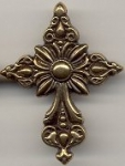 Metalized Plastic  pendant- Antique Gold Cross.<br> 2 dozen for